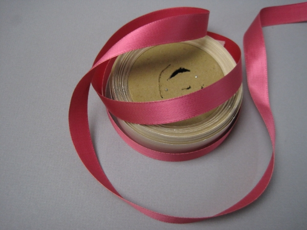 Rose pink satin ribbon is 5/8 inch wide