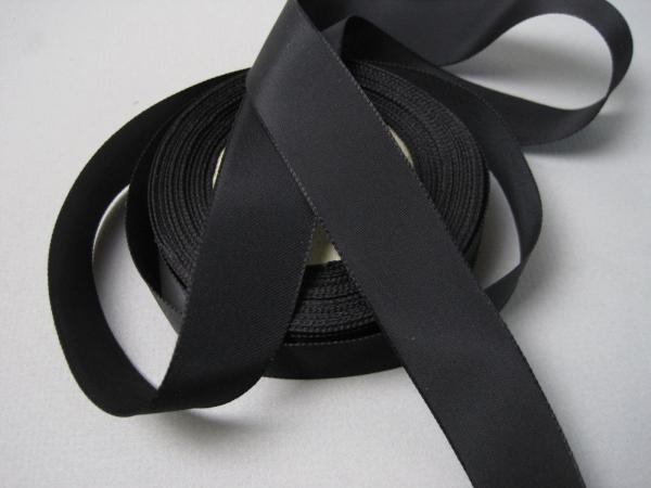 Black rayon faille dressmaker ribbon