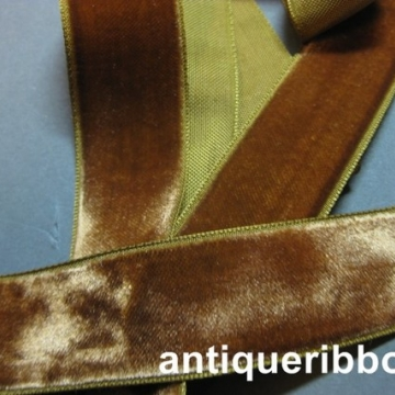 Vintage ribbon 1940s rayon velvet 1 in Sienna brown Y809