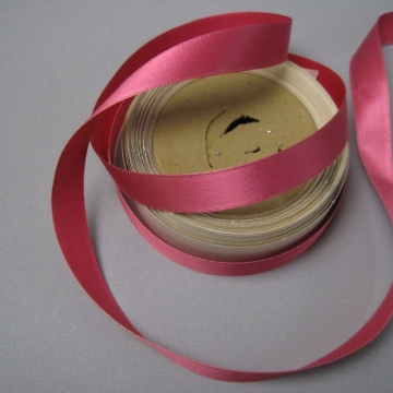 Rose pink satin ribbon rayon fabric 5/8 inch wide
