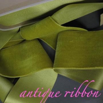 Vintage French velvet ribbon Victorian era Silk w cotton 2 1/4 inch Absinthe