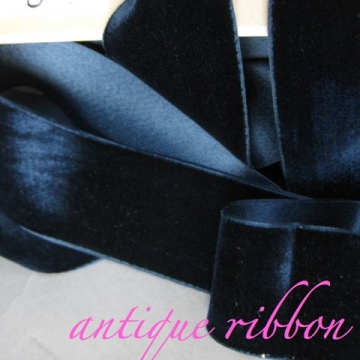 Vintage French ribbon 1920s velvet cotton w silk 1 7/8 inch marine blue