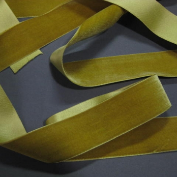Vintage French velvet ribbon silk w cotton 1 1/2 inch Absinthe