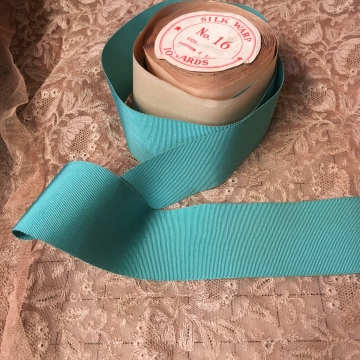 Vintage Petersham ribbon silk cotton deep aqua blue 2-1/4 inch