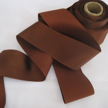 Vintage 30s Wide Brown ribbon Silk satin finish Millinery ribbon 2 inch wide