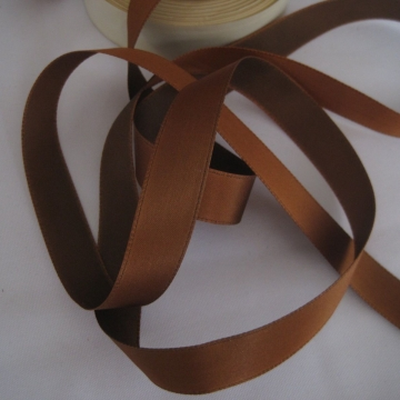 Vintage 30s French Satin ribbon trim Rayon Medium brown 5/8 inch
