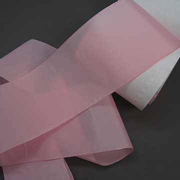 Vintage 40s Woven Nylon Taffeta Candy pink ribbon 4 inch wide