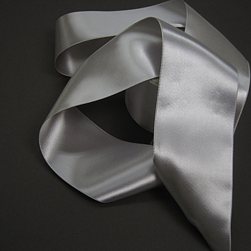 Vintage 30s silver ribbon double sided satin 3 inch wide