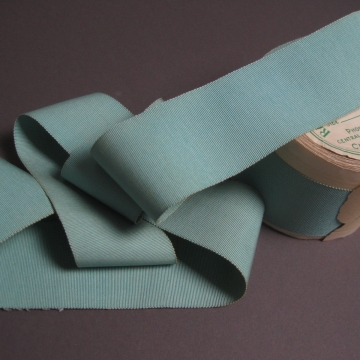 Vintage Petersham ribbon silk cotton aqua blue 2-1/4 inch