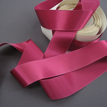 Vintage 30s satin ribbon Rayon fabric ribbon deep rose 1-1/4 inch wide