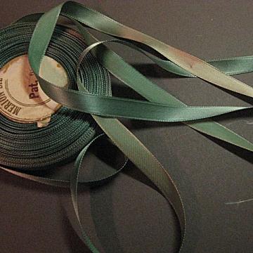 Vintage 30s Rayon satin ribbon Faded teal green blue narrow 3/8 inch
