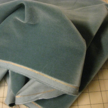 Vintage cotton velvet fabric 1930s Germany light  Teal 34 inch W